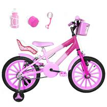 Bicicleta Infantil Aro 16 Rosa Bebê Pink Kit Rosa Bebê C/ Cadeirinha Para Boneca - Flexbikes