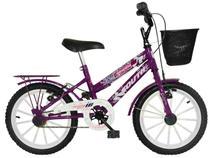 Bicicleta Infantil Aro 16 South Bike Cissa Nininha - Violeta com Rodinhas e Cesta Freio V-Brake