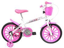 Bicicleta Infantil Aro 16 Track Bikes PINKY WR - Branca e Rosa com Rodinhas e Cesta Freio V-Brake