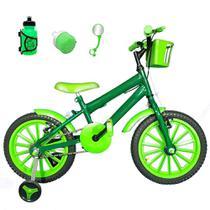 Bicicleta Infantil Aro 16 Verde Escuro Kit Verde C/ Acessórios - Flexbikes