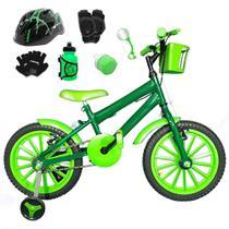 Bicicleta Infantil Aro 16 Verde Escuro Kit Verde C/ Capacete e Kit Proteção - Flexbikes
