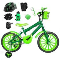 Bicicleta Infantil Aro 16 Verde Escuro Kit Verde C/ Capacete, Kit Proteção E Acelerador - Flexbikes