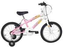 Bicicleta Infantil Aro 16 Verden Brave - Branca e Rosa com Rodinhas com Cesta