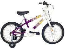 Bicicleta Infantil Aro 16 Verden Brave - Branca e Violeta com Rodinhas com Cesta