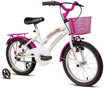 Bicicleta Infantil Aro 16 Verden Breeze - Branco e Pink com Rodinhas com Cesta Freio V-brake - Verden Bikes