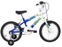 Bicicleta Infantil Aro 16 Verden Ocean - Branca e Azul com Rodinhas Freio V-Brake