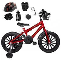 Bicicleta Infantil Aro 16 Vermelha Kit Preto C/ Capacete e Kit Proteção - FlexBikes