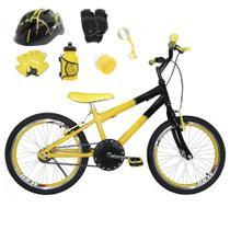Bicicleta Infantil Aro 20 Amarela Preta Kit E Roda Aero Amarela C/ Capacete e Kit Proteção - Flexbikes