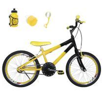Bicicleta Infantil Aro 20 Amarela Preta Kit E Roda Aero Amarelo Com Acessórios - Flexbikes