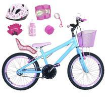 Bicicleta Infantil Aro 20 Azul Claro Kit E Roda Aero Rosa Bebê C/ Cadeirinha de Boneca Completa - FlexBikes