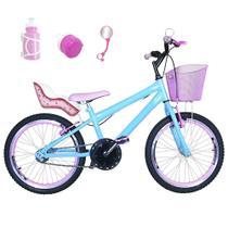 Bicicleta Infantil Aro 20 Azul Claro Kit E Roda Aero Rosa Bebê Com Cadeirinha - FlexBikes