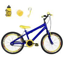 Bicicleta Infantil Aro 20 Azul Kit E Roda Aero Amarela Com Acessórios - Flexbikes