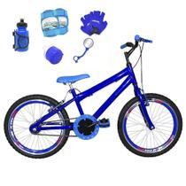Bicicleta Infantil Aro 20 Azul Kit E Roda Aero Azul C/ Acessórios e Kit Proteção - Flexbikes