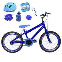 Bicicleta Infantil Aro 20 Azul Kit E Roda Aero Azul C/ Capacete e Kit Proteção - Flexbikes