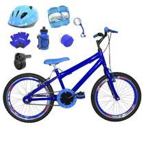 Bicicleta Infantil Aro 20 Azul Kit E Roda Aero Azul C/ Capacete, Kit Proteção E Acelerador - Flexbikes