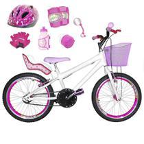 Bicicleta Infantil Aro 20 Branca Kit E Roda Aero Pink C/ Cadeirinha de Boneca Completa - Flexbikes