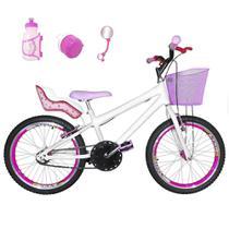 Bicicleta Infantil Aro 20 Branca Kit E Roda Aero Pink Com Cadeirinha - Flexbikes