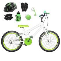 Bicicleta Infantil Aro 20 Branca Kit E Roda Aero Verde C/ Capacete e Kit Proteção - Flexbikes