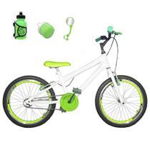 Bicicleta Infantil Aro 20 Branca Kit E Roda Aero Verde Com Acessórios - Flexbikes