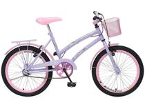 Bicicleta Infantil Aro 20 Colli Ciça Lilás - com Cesta Freio V-Brake
