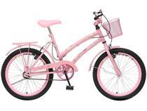 Bicicleta Infantil Aro 20 Colli Ciça Rosa  - com Cesta Freio V-Brake