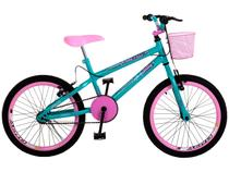 Bicicleta Infantil Aro 20 Colli July Verde Acua - com Cesta