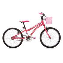 Bicicleta Infantil Aro 20 com Cesta Nina Houston Rosa Fosco - Bike do nordeste s/a - filial
