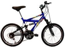 Bicicleta Infantil Aro 20 Dupla Suspensão 18 Marchas Azul - Dalannio Bike