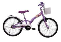 Bicicleta Infantil Aro 20 Feminina Fashion Lilas com Paralama e Cesta - Dalannio Bike