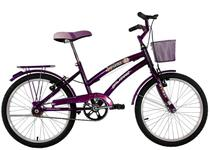 Bicicleta Infantil Aro 20 Feminina Susi Roxa Com Para-lama e Cesta - Dalannio Bike