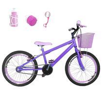 Bicicleta Infantil Aro 20 Lilás Kit E Roda Aero Rosa Bebê Com Acessórios - Flexbikes