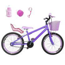 Bicicleta Infantil Aro 20 Lilás Kit E Roda Aero Rosa Bebê Com Cadeirinha - Flexbikes