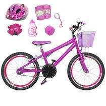 Bicicleta Infantil Aro 20 Pink Kit E Roda Aero Pink C/ Capacete E Kit Proteção - FlexBikes