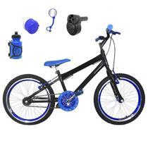 Bicicleta Infantil Aro 20 Preta Kit e Roda Aero Azul C/ Acelerador Sonoro - Flexbikes