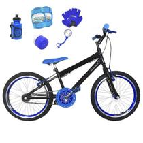 Bicicleta Infantil Aro 20 Preta Kit E Roda Aero Azul C/ Acessórios e Kit Proteção - Flexbikes