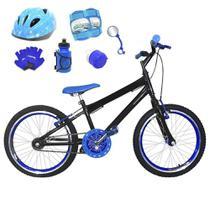 Bicicleta Infantil Aro 20 Preta Kit E Roda Aero Azul C/ Capacete e Kit Proteção - FlexBikes