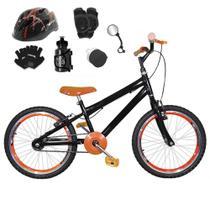 Bicicleta Infantil Aro 20 Preta Kit E Roda Aero Laranja C/ Capacete e Kit Proteção - Flexbikes