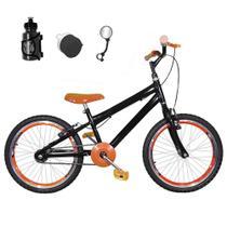Bicicleta Infantil Aro 20 Preta Kit E Roda Aero Laranja Com Acessórios - Flexbikes