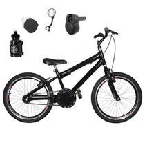 Bicicleta Infantil Aro 20 Preta Kit e Roda Aero Preto C/ Acelerador Sonoro - Flexbikes