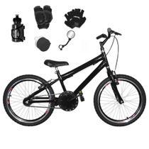 Bicicleta Infantil Aro 20 Preta Kit E Roda Aero Preto C/ Acessórios e Kit Proteção - Flexbikes