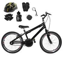 Bicicleta Infantil Aro 20 Preta Kit E Roda Aero Preto C/ Capacete e Kit Proteção - Flexbikes