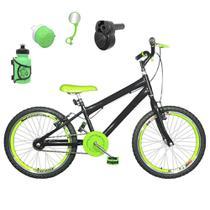 Bicicleta Infantil Aro 20 Preta Kit e Roda Aero Verde C/ Acelerador Sonoro - Flexbikes