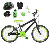 Bicicleta Infantil Aro 20 Preta Kit E Roda Aero Verde C/ Capacete e Kit Proteção - FlexBikes