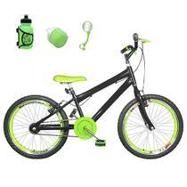 Bicicleta Infantil Aro 20 Preta Kit E Roda Aero Verde Com Acessórios - Flexbikes