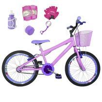 Bicicleta Infantil Aro 20 Rosa Bebê Kit E Roda Aero Lilás C/ Acessórios E Kit Proteção - FlexBikes