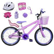 Bicicleta Infantil Aro 20 Rosa Bebê Kit E Roda Aero Lilás C/ Cadeirinha de Boneca Completa - FlexBikes