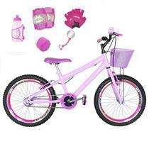 Bicicleta Infantil Aro 20 Rosa Bebê Kit E Roda Aero Pink C/ Acessórios E Kit Proteção - Flexbikes