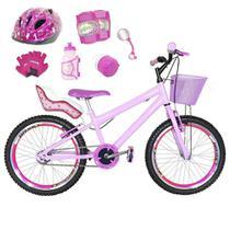 Bicicleta Infantil Aro 20 Rosa Bebê Kit E Roda Aero Pink C/ Cadeirinha de Boneca Completa - Flexbikes