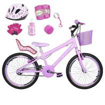 Bicicleta Infantil Aro 20 Rosa Bebê Kit E Roda Aero Rosa Bebê C/ Cadeirinha de Boneca Completa - Flexbikes