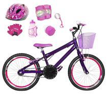 Bicicleta Infantil Aro 20 Roxa Kit E Roda Aero Pink C/ Capacete E Kit Proteção - Flexbikes